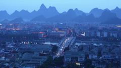 Night scene of Guilin city。 - stock footage