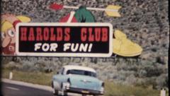 1635 - Harolds Club roadside bilboards Reno, Nevada - vintage film home movie Stock Footage