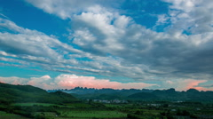 spectacular cloudscape of mountains in Guilin,China. - stock footage