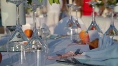 Table Setting At Outdoor Restaurant Stock Footage
