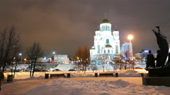 Church on Blood in Honour and monument in Yekaterinburg. 4K Stock Footage