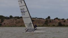 Fast Catamaran Sailing in a Race Stock Footage