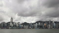 4K Time lapse Hong Kong Skyline dark clouds Stock Footage