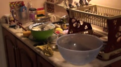 Clutter of dirty dishes zoom in - stock footage