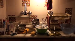 Clutter of dirty dishes - stock footage