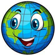 A comical image of Earth - stock illustration
