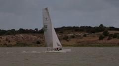 Catamaran Sailing Fast Stock Footage