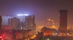 Night scene of fireworks for Chinese spring Festival in Chinese city . Stock Footage