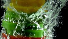 Stack of Colorful Peppers Stock Footage