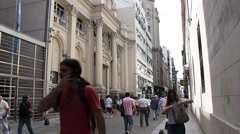 Town center, Buenos Aires. People walking. Stock Footage