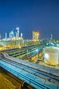 refinery plant on night time - stock photo