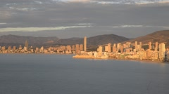 panoramic view of the city of Benidorm in Alicante, Spain - stock footage