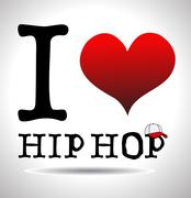 I love hip hop, font type with signs Stock Illustration
