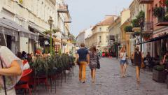 Vilnius street in the old town of Kaunas, the oldest city street, editorial  Stock Footage