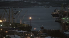 Ships in the commercial port in the evening Stock Footage