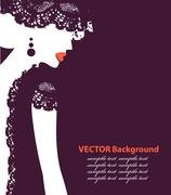 beautiful female face silhouette in profile. wedding vector design - stock illustration