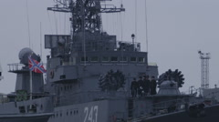 Warships in the port 2 Stock Footage