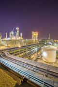 Refinery plant on night time Stock Photos