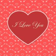 valentine card with red heart - stock illustration