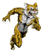 wildcat sports mascot running - stock illustration
