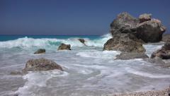 4K Splashing Waves, Coastline, Beach View, Seascape Vacation Tourism, Cliff Rock Stock Footage