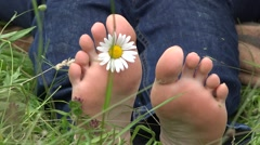 Daisy and bare feet, woman relaxing in nature  Stock Footage