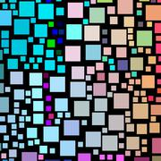 lots of colorful square shapes on a black background. - stock illustration
