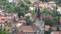 Perfect place to live, small city between green mountains 4K Stock Footage
