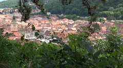 Panorama view of Brasov medieval city center during summertime Stock Footage