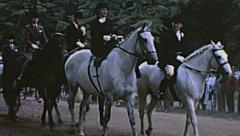London 1965: horses parade at Trooping the colour Stock Footage