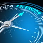 Stock Illustration of recession word on compass