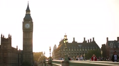 Stock Video Footage of Big Ben and Westminster Bridge on a sunset Long Shot