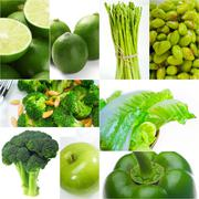 Green healthy food collage collection Stock Photos