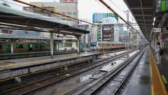 Train arrival to station platform, Tokyo, Japan Stock Footage