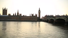 Big ben with Westminster Bridge on the sunset - stock footage