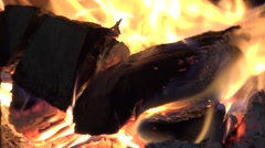 ULTRA HD 4K Wood burn stove warm hot flame fire energy fireplace yellow light Stock Footage