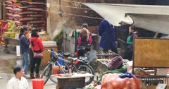 4k woman Selling Living Chicken At Farmers Market In shangri-la market,china. Stock Footage
