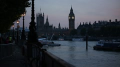 Big Ben in the evening and River Thames - stock footage