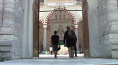 Outdoor Entrance of Selimiye Mosque Stock Footage