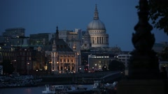 St Pauls Cathedral in the night - stock footage