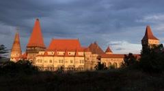 Clouds over Hunedoara Castle Stock Footage