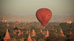 Balloons Bagan Buddhist Temples Stock Footage