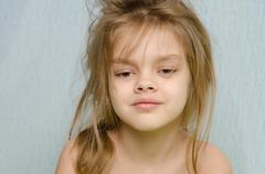 Portrait of girl awakened early in the morning Stock Photos