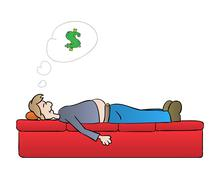 Sleeping man and dreaming about money Piirros