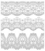 seamless ornamental floral stripes - stock illustration