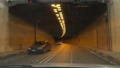 4K Driving Car on Highway, Roadway, Tunnel, Subway, Greece Traveling Traffic Pov Stock Footage
