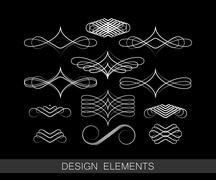 Vector set of line art decorative elements for design Stock Illustration