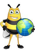 Chubby Bee Character - stock illustration