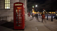 Red phone booth, big ben. Stock Footage
