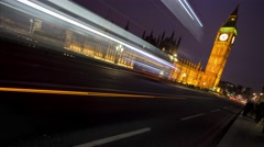 Big ben,  palace of westminster, at night. Stock Footage